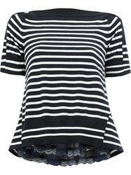 Sacai Striped Knitted Top Blue