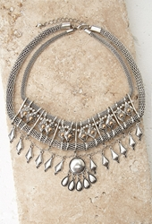 Forever 21 Geo Mesh Chain Necklace B.Silver Antic.G