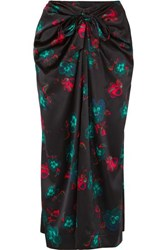 Ganni Knotted Floral Print Silk Blend Satin Midi Skirt Black