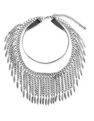 Steve Madden Chainlink And Leaf Collar Necklace Silver