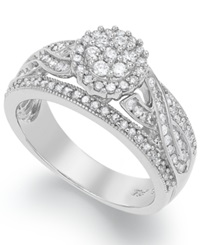 Macy's Certified Round Cut Diamond Engagement Ring In Sterling Silver 3 4 Ct. T.W.