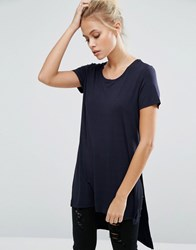 Only Jewel Long Slit T Shirt Blue Graphite