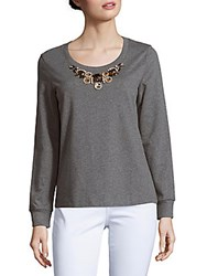 Basler Plus Size Marled Beaded Top Medium Grey