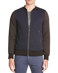 Scotch And Soda Quilted Sleeve Knit Baseball Jacket Navy