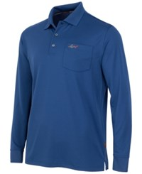 Greg Norman For Tasso Elba 5 Iron Long Sleeve Performance Polo Blue Socket