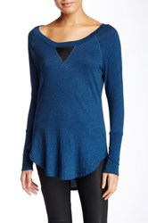 Bobi V Inset Long Sleeve Tunic Blue