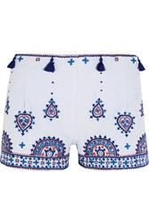 Talitha Nisa Embroidered Cotton Shorts Light Blue