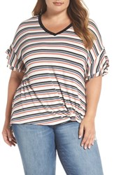 Wit And Wisdom Plus Size Striped Ruffle Tee Ivory Multi