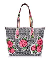 Liberty London Rq Lt Marlborough Rose Tote Bag Black Pattern