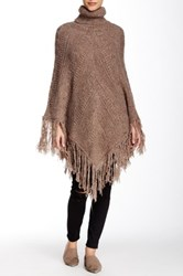 Romeo And Juliet Couture Turtleneck Fringe Poncho Brown
