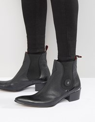 Jeffery West Sylvian Buckle Cuban Heel Boots Black