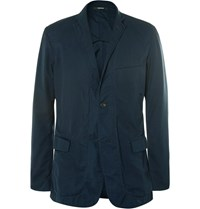 Issey Miyake Navy Unstructured Cotton Gabardine Blazer Storm Blue