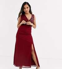 Little Mistress Petite Maxi Dress With Embellishment And Open Back Detail In Mulberry Red