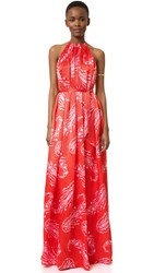 Cynthia Rowley Paisley Halter Gown Poppy Red