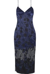 Agent Provocateur Anissa Appliqued Silk Satin And Lace Slip Midnight Blue