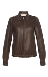 Marni Fitted Leather Jacket Brown