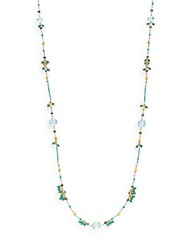 Azaara Turquoise And Multicolor Crystal Beaded Necklace Turquoise Multi