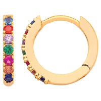 Estella Bartlett Cubic Zirconia Pave Set Hoop Earrings Gold Multi