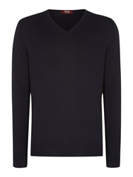 Plain V Neck Pull Over Jumpers Navy