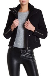 Doma Genuine Dyed Lamb Shearling Wool Blend Jacket Black