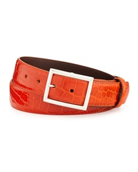 W.Kleinberg Glazed Alligator Belt With 'Simple Rec' Buckle Orange Made To Order