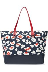 Red V Leather Paneled Leopard Print Canvas Tote Blue
