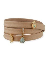Tai Leather Wrap Bracelet With Charms Beige