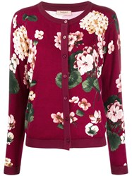 Twin Set Floral Cardigan Red