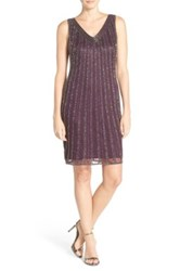Pisarro Nights Beaded Mesh A Line Dress Purple