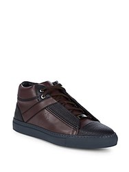 Brioni Grained Leather Chukka Sneakers Oxblood