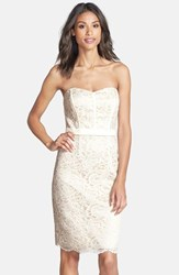 Women's Dessy Collection Strapless Lace Overlay Matte Satin Dress Ivory Palomino