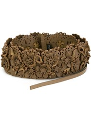 Etro Floral Applique Tie Belt Brown