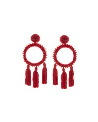 Oscar De La Renta Large Beaded Circle Tassel Clip On Earrings Dark Red