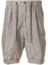 Barba Drawstring Tailored Shorts Brown
