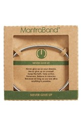 Mantraband Women's Never Give Up Engraved Cuff Silver