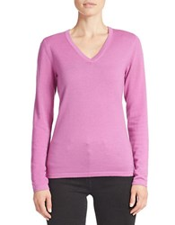 Lord And Taylor Plus Merino Wool Basic V Neck Sweater Island Orchid