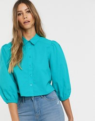 Neon Rose Vintage Blouse With Balloon Sleeves Green