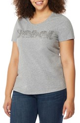 Rebel Wilson X Angels Plus Size Women's Fitted Scoop Neck Tee Light Heather Grey