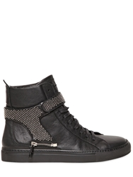 D S De Studded Strap High Top Leather Sneakers Black