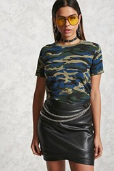 Forever 21 Camo Print Tee Olive Blue