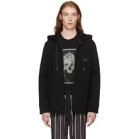 Neil Barrett Black Pierced Zip Up Hoodie