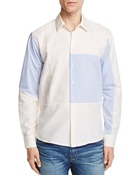 Soulland Jiang Patchwork Slim Fit Button Down Shirt Off White