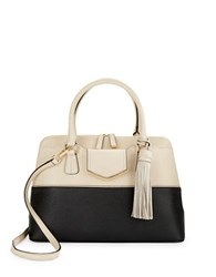Calvin Klein Colorblocked Leather Satchel Black Wheat