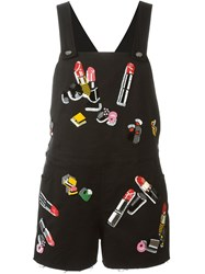 Giamba Sequined Short Overalls Black