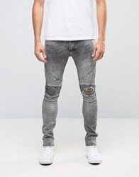 Religion Biker Jeans With Rip Repair Knee Detail In Skinny Fit With Stretch Grey