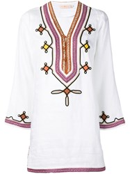 Tory Burch Embroidered Tunic 100 White