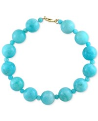 Effy Collection Effy Amazonite 12 And 4Mm Bead Bracelet In 14K Gold Blue
