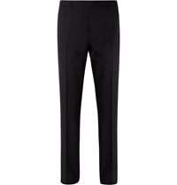 Burberry Navy Relaxed Fit Wool Suit Trousers Blue
