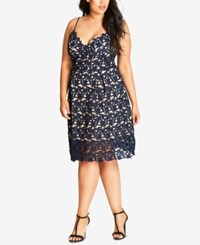 City Chic Plus Size Trendy So Fancy Lace Dress Navy