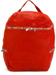 Guidi Zip Up Backpack Red